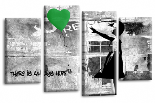 Banksy Wall Art Canvas Green Balloon Girl Picture Love Peace Multi Panel